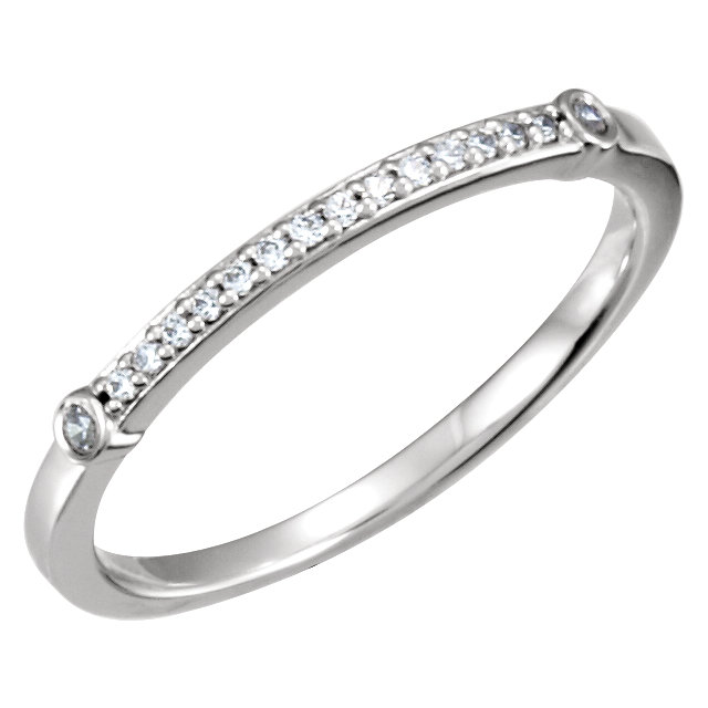 14K White 1/10 CTW Diamond Matching Band