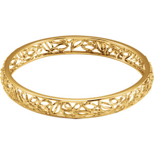 14K Yellow Gold-Plated Sterling Silver Textured Bark Bangle Bracelet