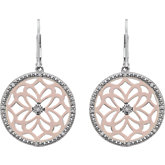 Diamond Round Shape Lever Back Earrings