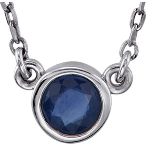 Sterling Silver Blue Sapphire Bezel 16