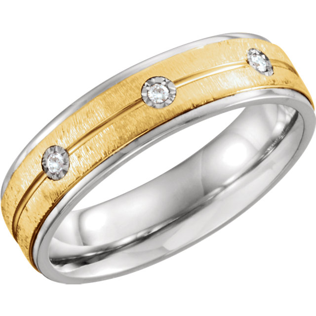 Sterling Silver & 10K Yellow 6mm .05 CTW Diamond Band Size 11.5