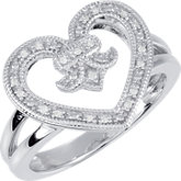 Diamond Heart & Fleur-De-Lis Design Ring