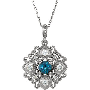 London Blue Topaz & Diamond Necklace or Mounting