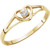 Youth Cubic Zirconia Heart Ring
