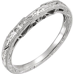 14kt White Hand Engraved Band for 6.5mm Round Ring