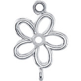 Floral Design Dangle Component with Jump Rings