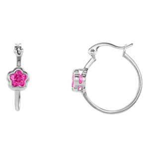 "Sterling Silver BFlowerâ""¢ Fuchsia CZ Dangle Earrings"