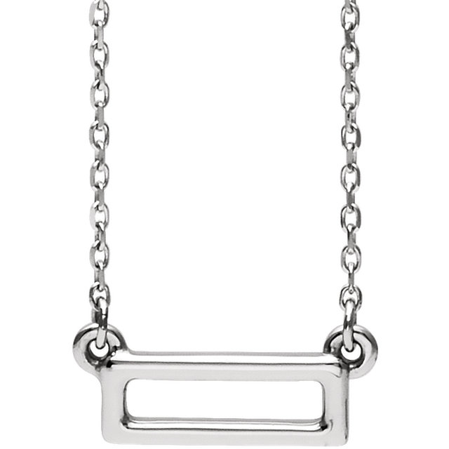 Sterling Silver Rectangle Bar Necklace