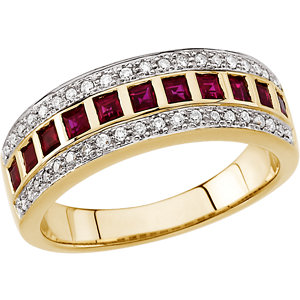 Ruby & Diamond Anniversary Band