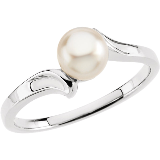 14K White Pearl Ring