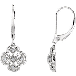 14kt White . 7 ATW<br> Diamond Accented Lever<br> Back Earrings