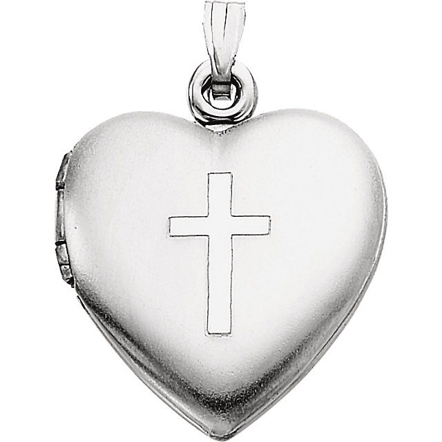 Sterling Silver 15.5x13mm Heart Locket with Cross