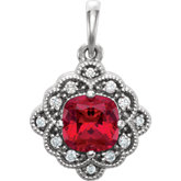 Chatham® Created Ruby & Diamond Halo-Style Pendant or Mounting