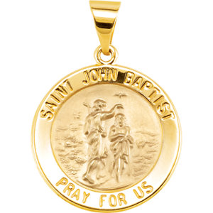 14kt Yellow 18.5mm Round Hollow John the Baptist Medal