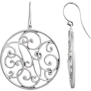 Sterling Silver 1/1  ATW Diamond Scroll Earrings