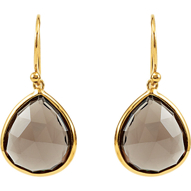 14k Yellow Gold Plated Sterling Silver Smoky Quartz Earrings 69644 101 P