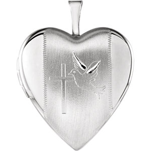 Heart Locket Engraved with Cross &  Dove