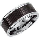 Stainless Steel Beveled Band with Bark Finish & Black PVD