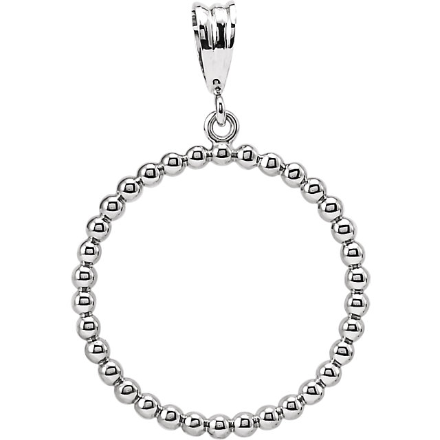 Sterling Silver Beaded Circle Silhouette Pendant