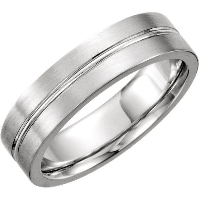 Continuum Sterling Silver 6mm Grooved Band Size 7
