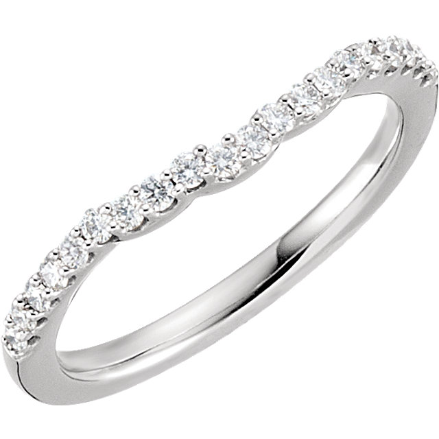 14K White 1/4 CTW Diamond Band for 6.5mm Engagement Ring