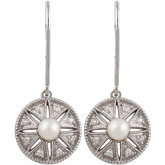 Freshwater Cultured Pearl & .04 ct tw Diamond Earrings