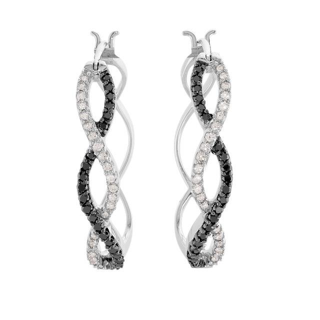 14K White 1/2 CTW Black & White Diamond Hoop Earrings