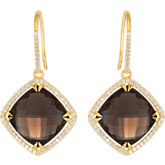 Halo-Style Antique Square Shaped Dangle Earrings