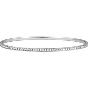 "14K White 1 1/2 CTW Diamond Bangle Bracelet 7"""