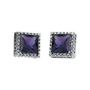 Amethyst & Diamond Earrings or Semi-Mount