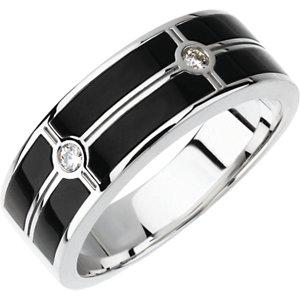 Men's Onyx & 1/10 CTW Diamond Ring