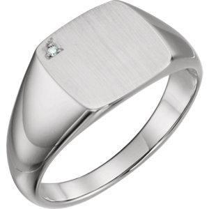 14K White .006 CTW Diamond Men's Signet Ring