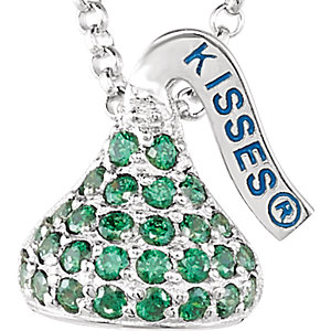 Sterling Silver August<br> HERSHEYS KISSES Aubic<br> Zirconia 16-1