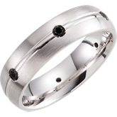 Sterling Silver 6mm Diamond Design Band