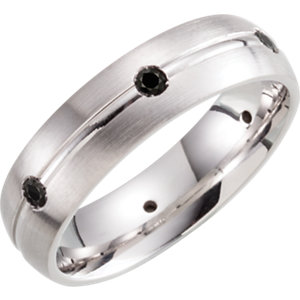 Sterling Silver 6mm Diamond Band