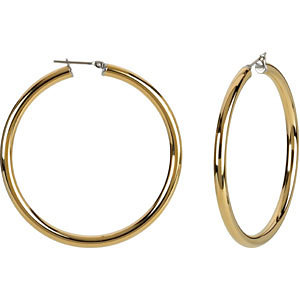 14K Yellow Gold-Plated Stainless Steel 4x50mm Hoop Earrings