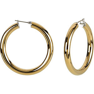 14K Yellow Gold-Plated Stainless Steel 6x20mm Hoop Earrings