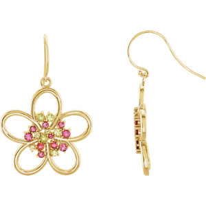14kt Yellow Peridot &<br> Pink Tourmaline Flower<br> Earrings
