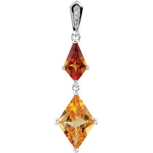 Genuine Madeira Citrine, Citrine & Diamond Pendant