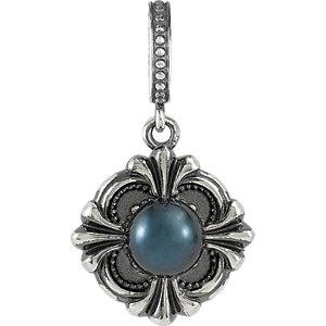 Victorian Style Akoya Aultured Black Pearl Pendant