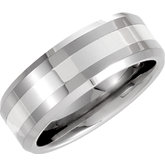 8.3mm Dura Tungsten® Beveled Band with Sterling Silver Inlay
