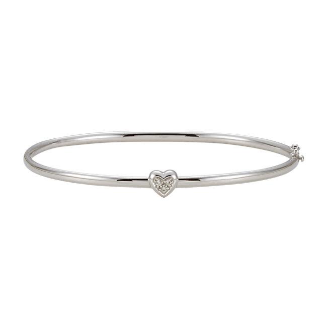 14K White .03 CTW Diamond Bangle Bracelet