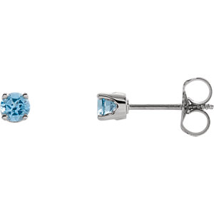 14kt White Swiss Blue Topaz Youth Earrings