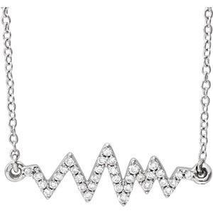 "14K White 1/6 CTW Diamond Heartbeat 16-18"" Necklace"