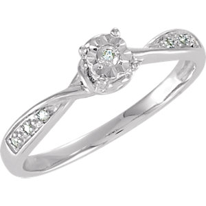 Sterling Silver .07 CTW Diamond Illusion Engagement Ring Size 8