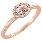 Morganite & Diamond Halo-Style Ring or Mounting