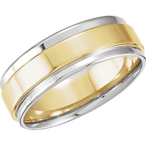 Two-Tone 7.5mm Comfort-Fit Flat Edge Band