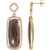 Smoky Quartz & Diamond Halo-Styled Earrings or Mounting