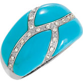 Genuine Chinese Turquoise & Diamond Ring