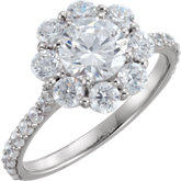 Floral Cluster Engagement Ring or Band Mounting